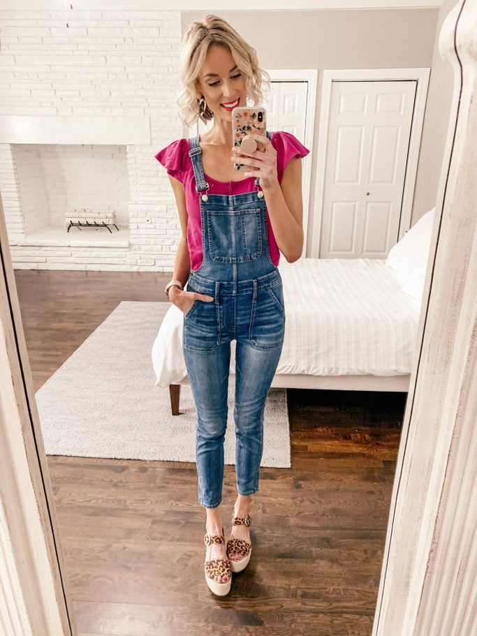 skinny denim overalls with but ruffle sleeve top and espadrilles
