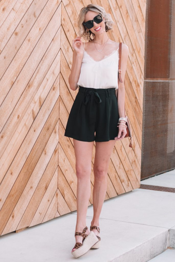 cute and dressy shorts for women, options besides denim, paperbag waist shorts