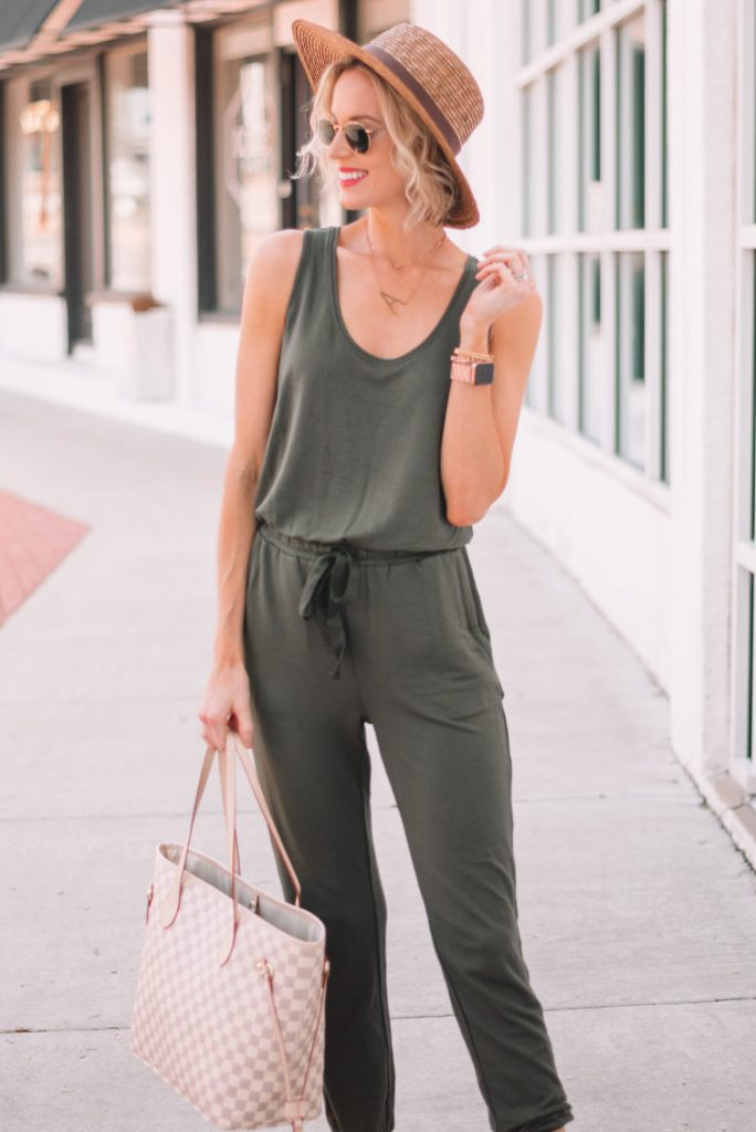olive cotton sleeveless jumpsuit