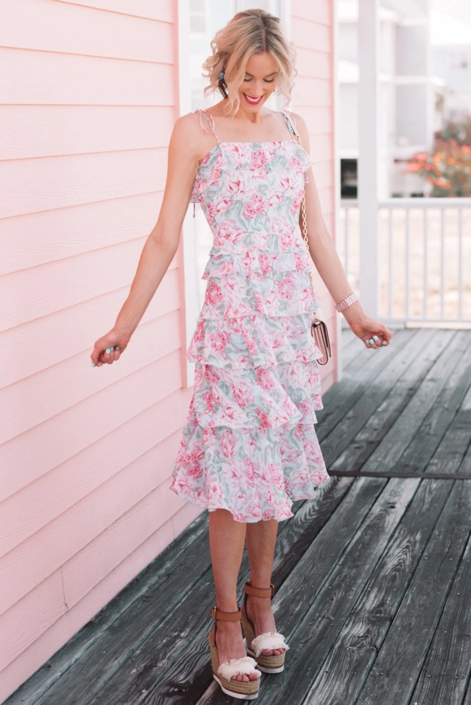 feminine floral midi dress perfect for summer occasions, summer wedding guest dress