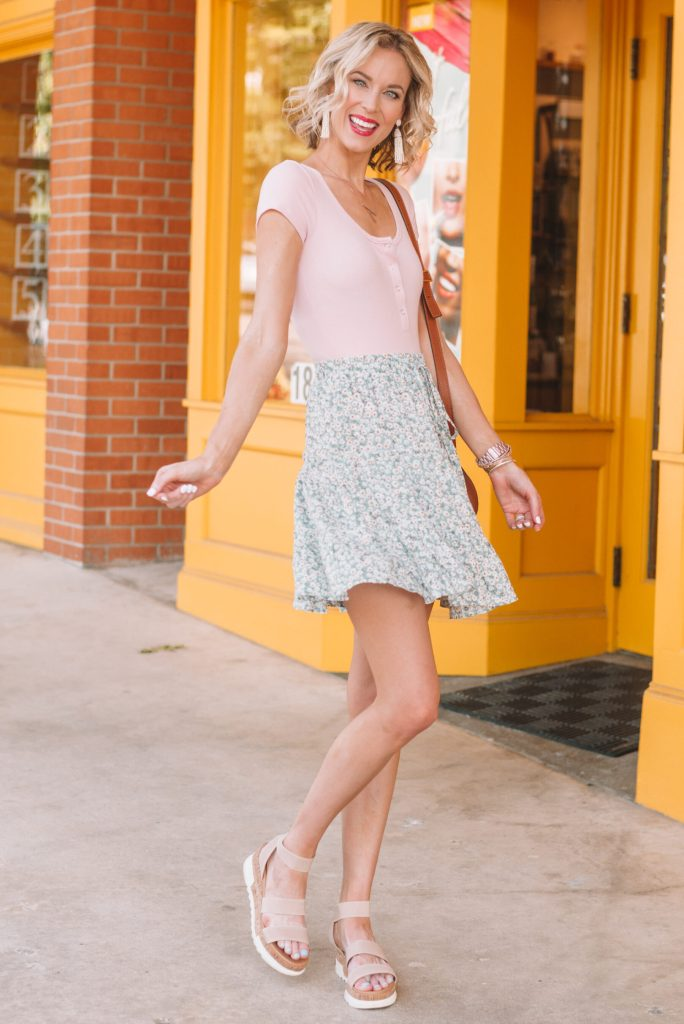 adorable summer outfit, pink bodysuit with fun and lightweight tiered mini skirt
