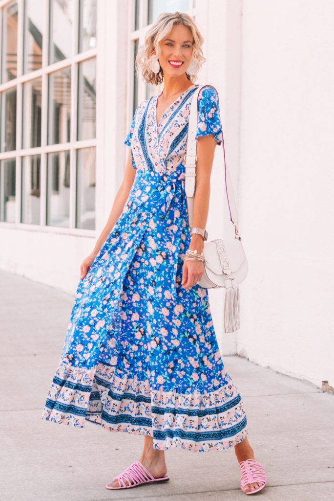 gorgeous long blue maxi dress