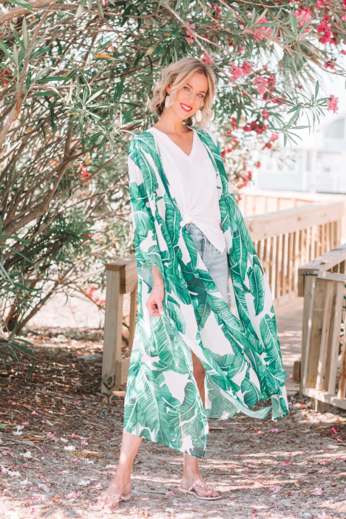 adorable amazon prime palm print kimono that can double as a swimsuit coverup and be layered over shorts