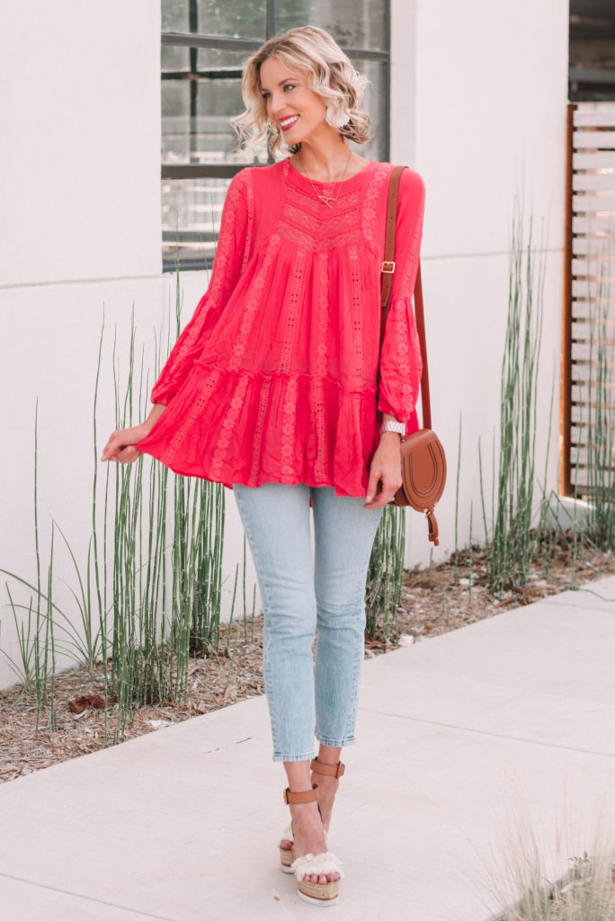 cropped jeans and long tunic top