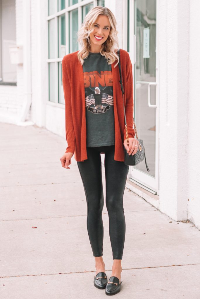 graphic t-shirt and cardigan with leggings, what to wear with leather leggings, mules