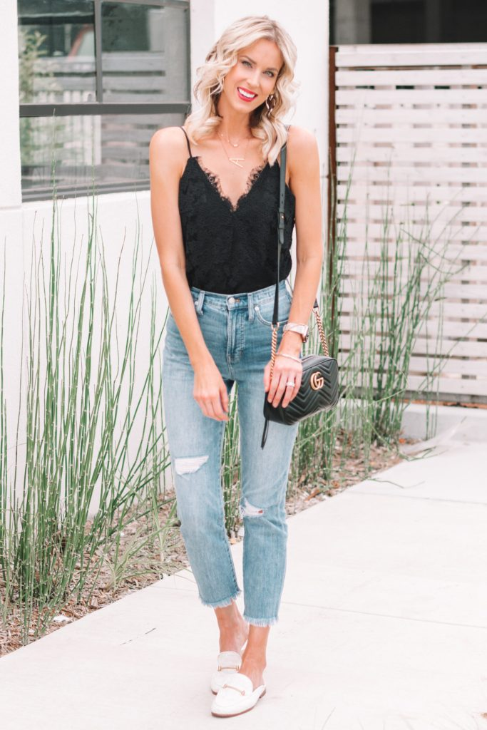 Classic Date Night Look, lace cami bodysuit, straight leg jeans, loafers