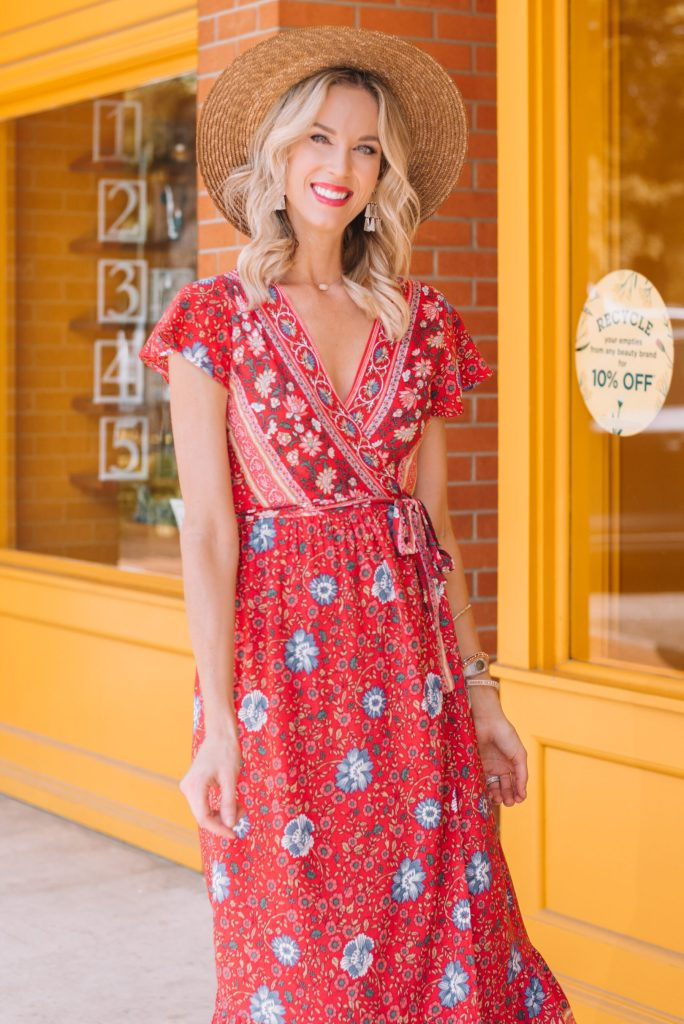 printed red wrap dress with hat