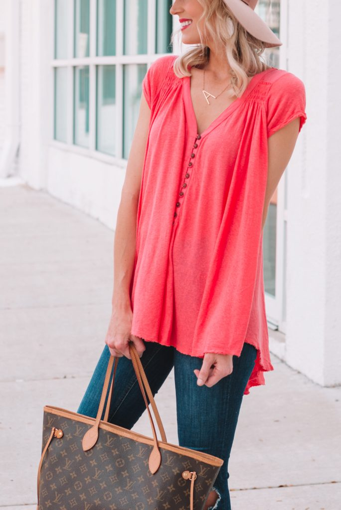 tunic style t-shirt in a bright watermelon color
