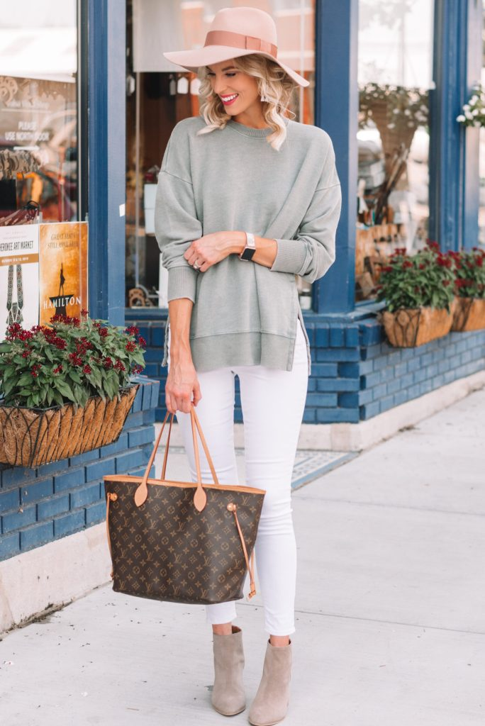 neutral fall outfit, white jeans outfit, ankle boots