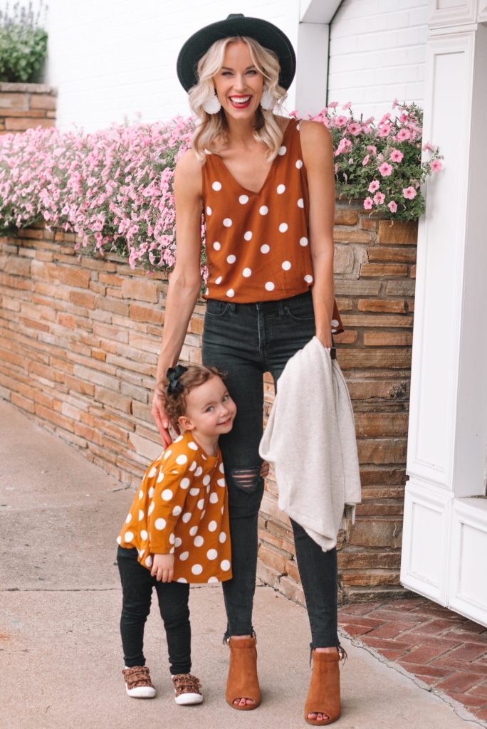 adorable mom and me matching looks, burnt orange polka dot tops with mom and daughter toddler style