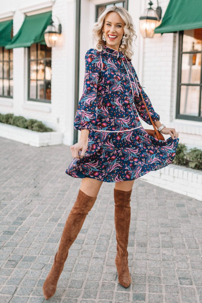 fall dress outfit with over the knee boots