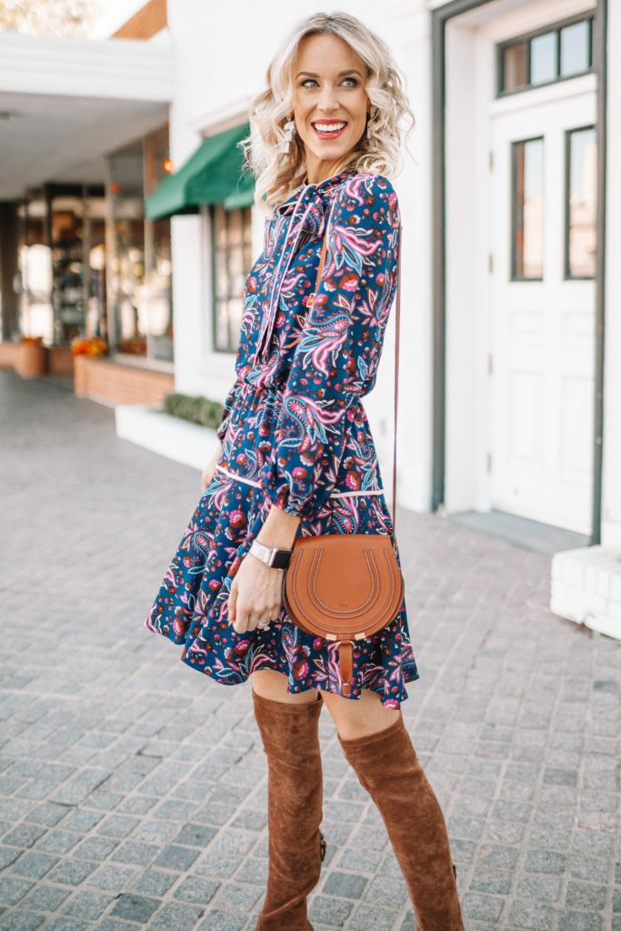 Printed Fall Dress and Over the Knee Boots