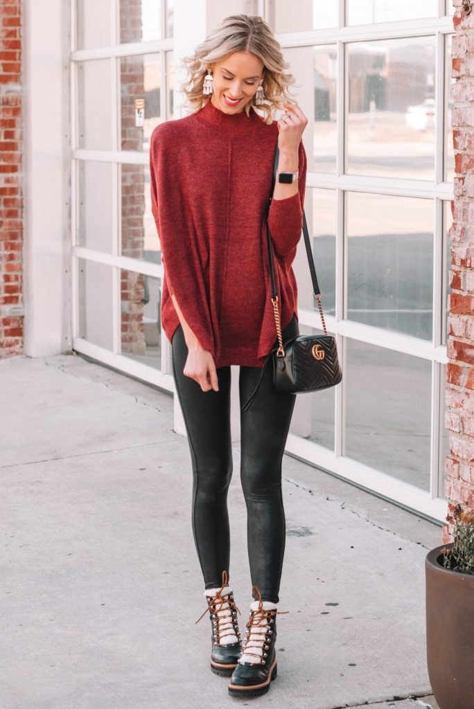 poncho and leggings for fall, hiker boots