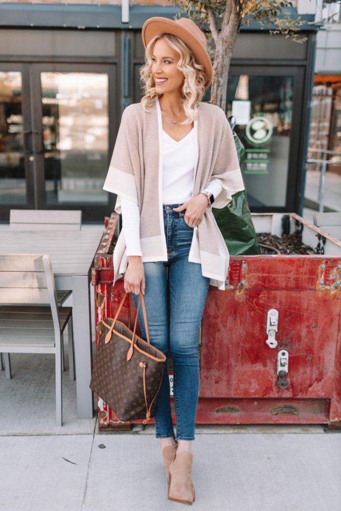 Neutral Poncho Wrap 4 Ways, poncho wrap with jeans and booties, casual fall outfit