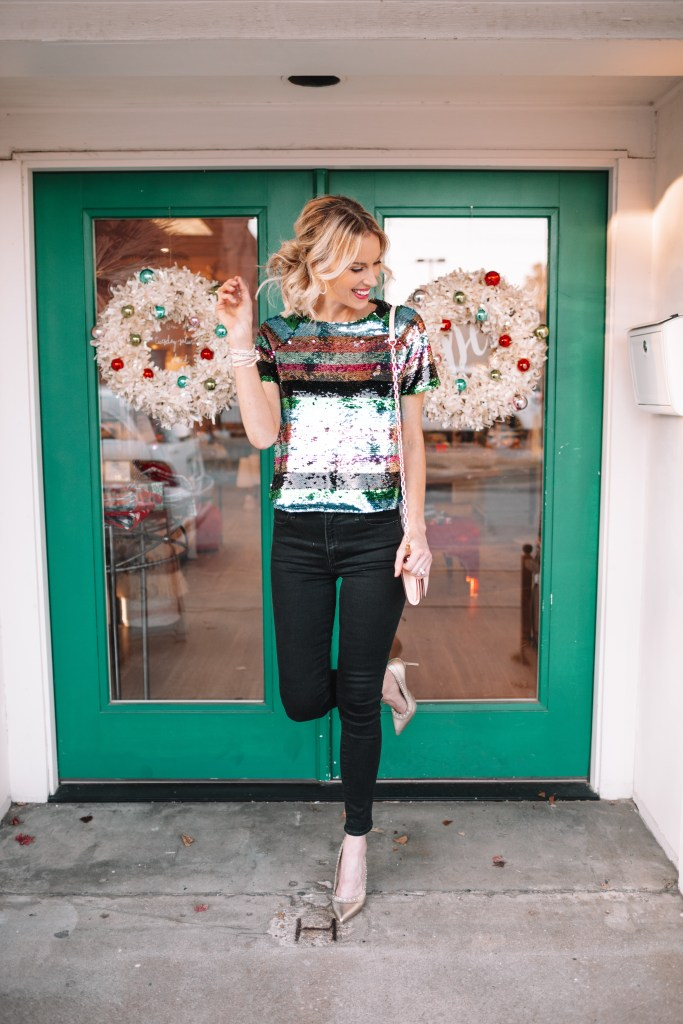 how to style a sequin top, black skinny jeans
