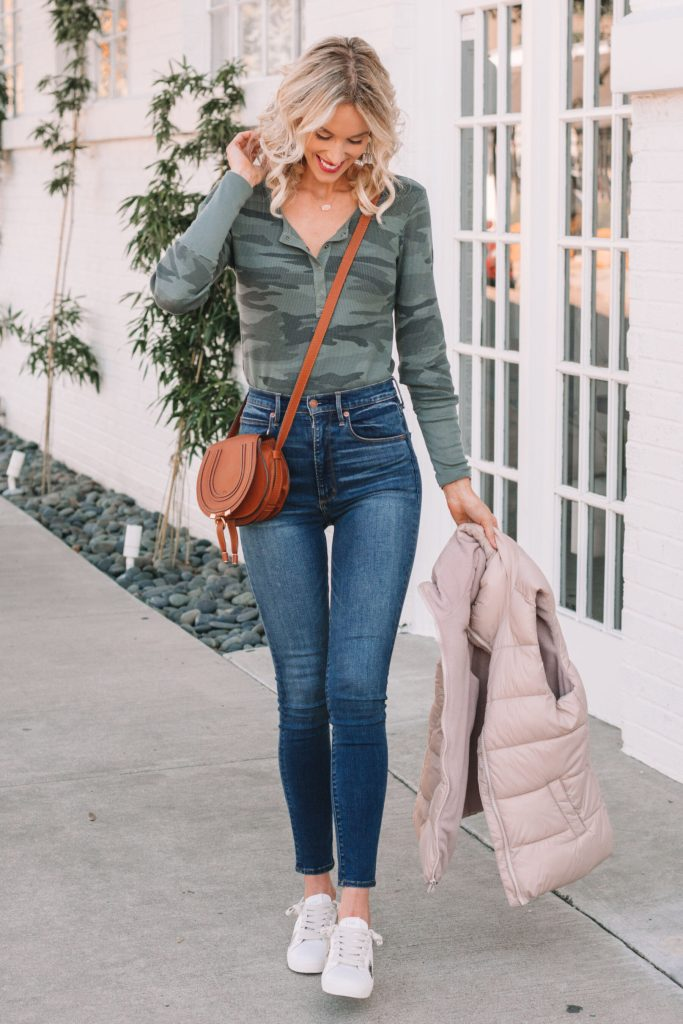 casual mom outfit, puffer vest, thermal, jeans