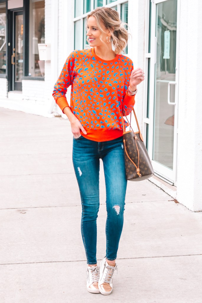 leopard sweatshirt with fashion sneakers, high tops