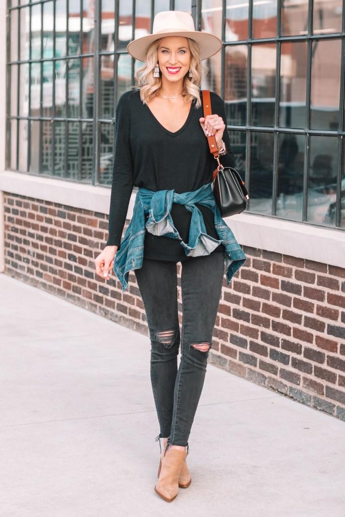 black jean outfit idea