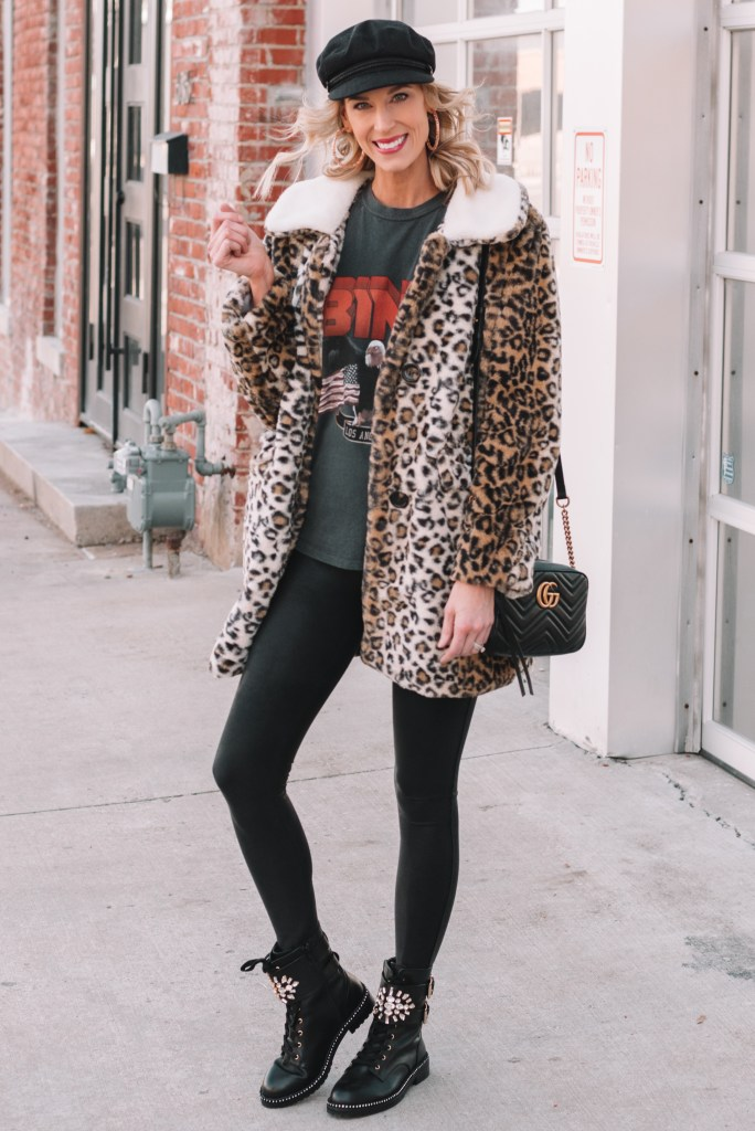 leopard coat styled casually with a t-shirt and leggings