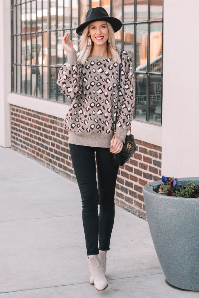 leopard sweater outfit idea, cute winter outfit