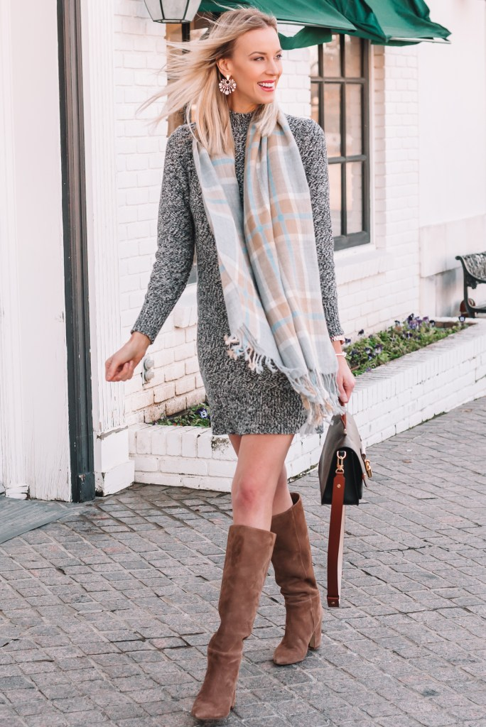 sweater dress and tall boots