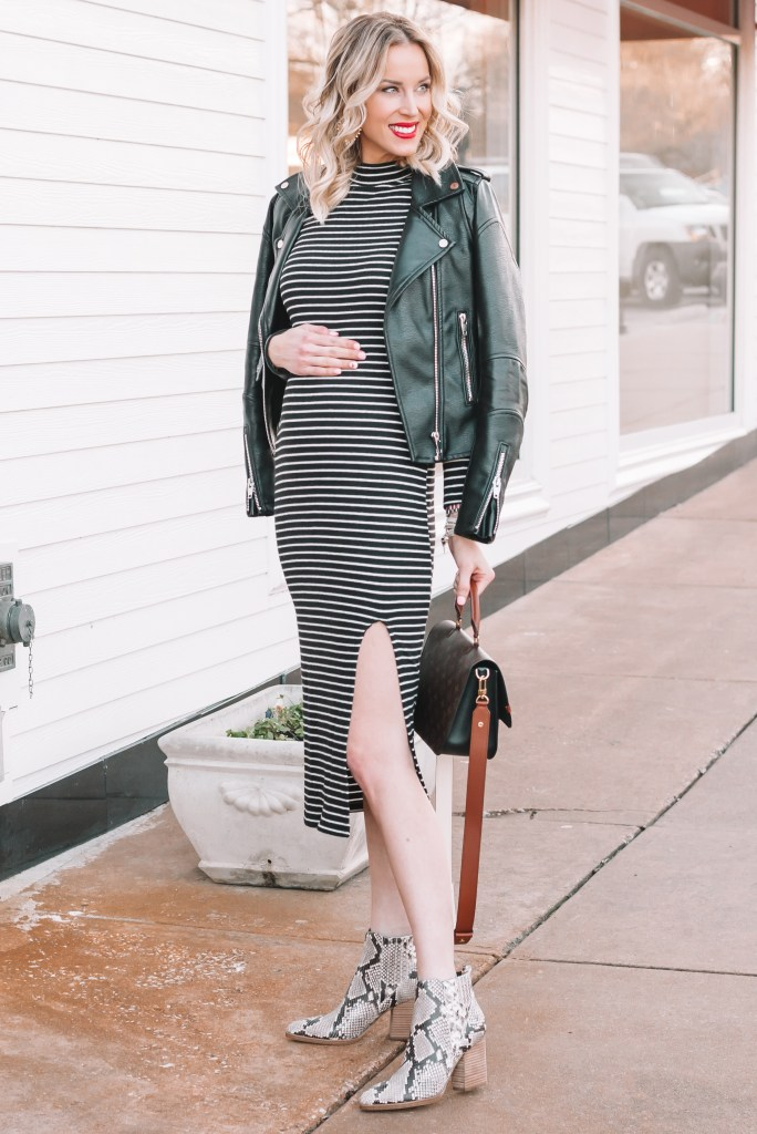 Fitted Black and White Striped Dress