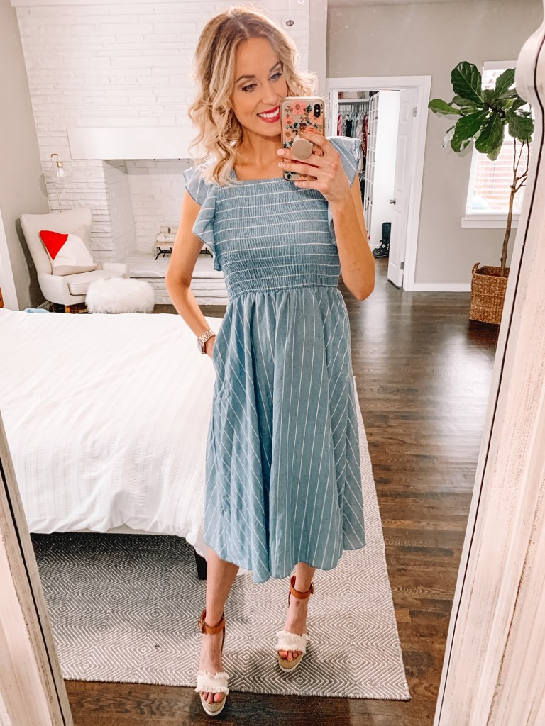 affordable amazon dress, blue and white striped sun dress