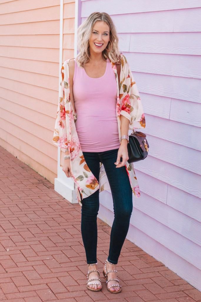 maternity kimono, floral kimono