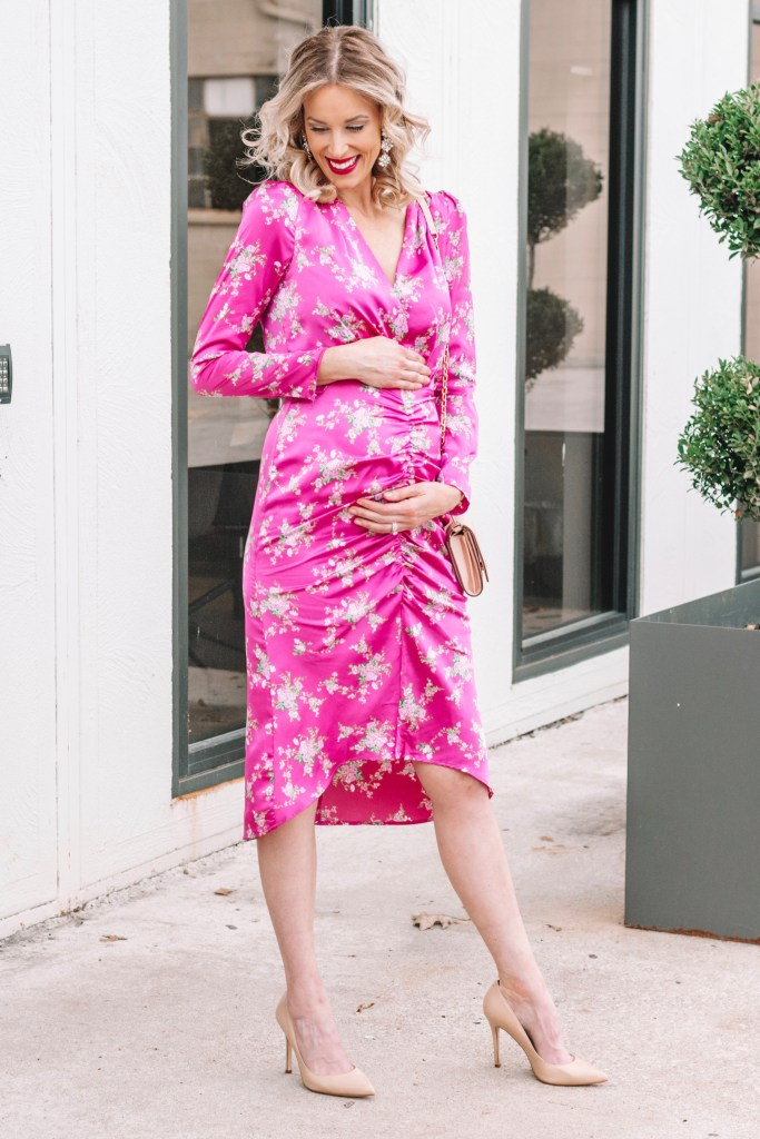 ruched floral dress, maternity fashion outfit ideas