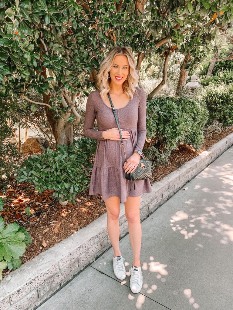 long sleeve cotton dress, spring dress, purple dress, henley dress