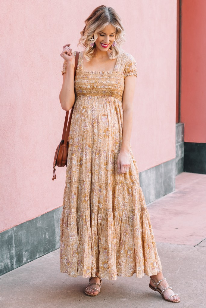 flowy floral maxi dress, free people maxi dress