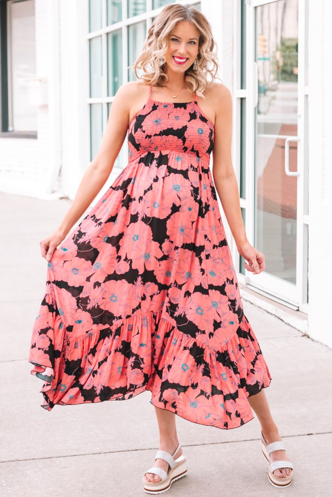 This flowy floral dress is perfect for summer! Dress it up with wedges or down with flat sandals. Plus some spring earrings trends you want to know about.