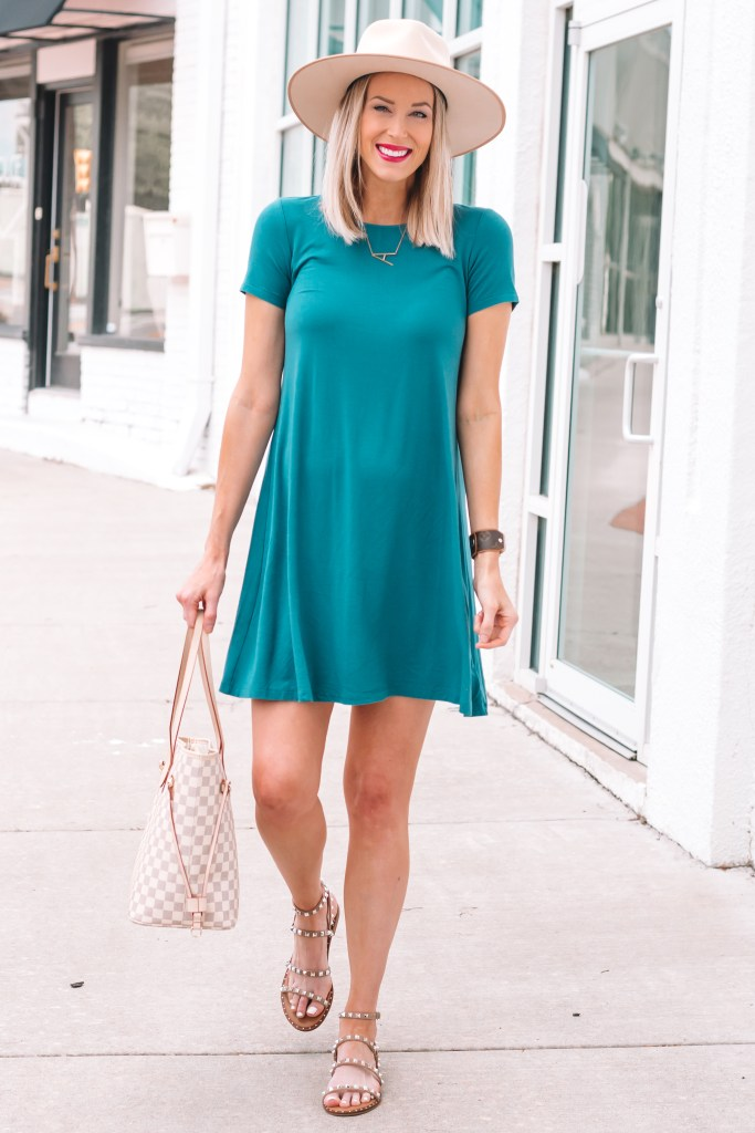 Wondering what to wear if you don't like shorts? Easy jersey swing dresses are a great option!