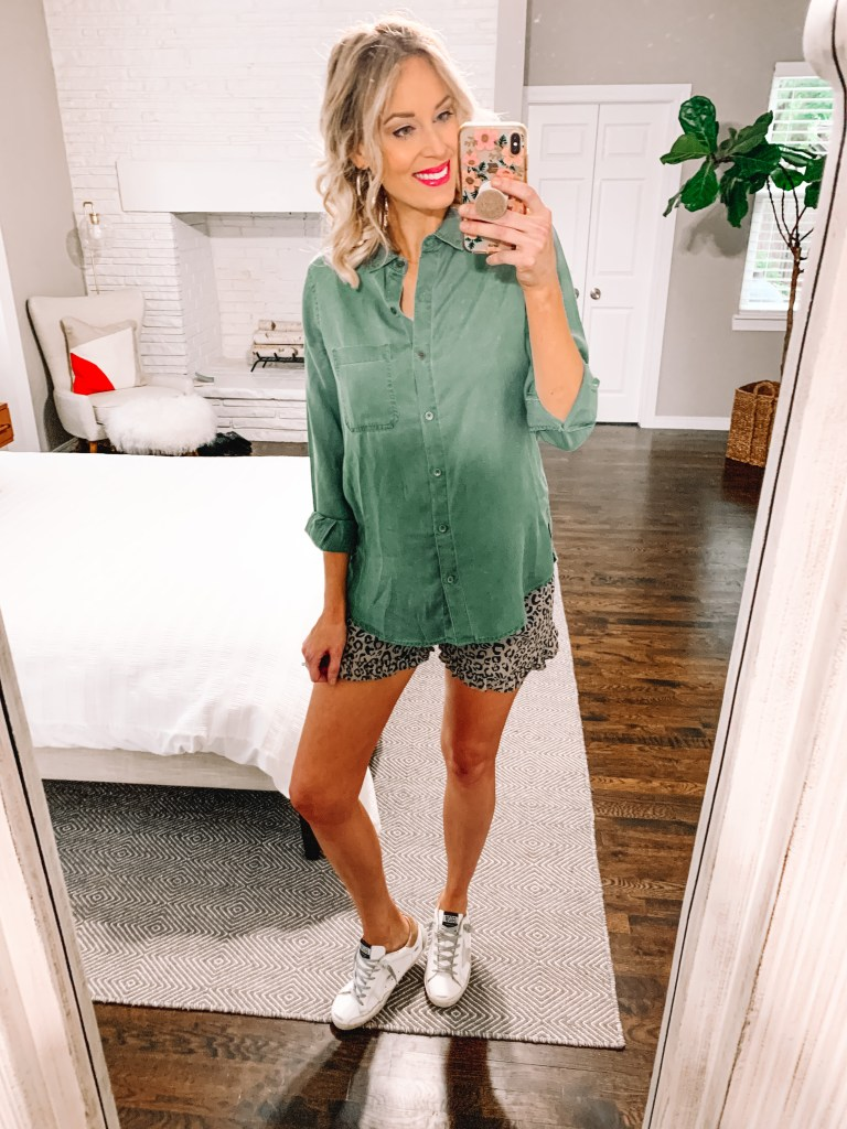 When considering how to style a button up shirt, I love the options of shorts or skirts in the spring and summer! Whether you style it open or buttoned up, each look is equally as awesome.
