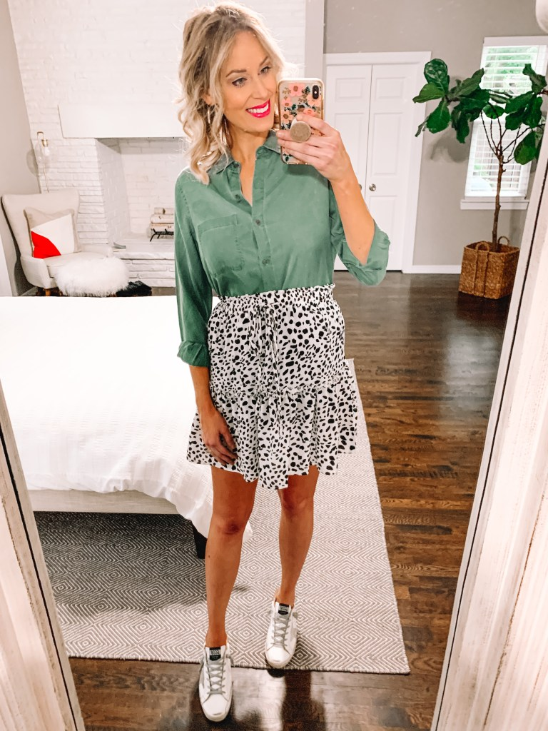 How adorable is this army green utility shirt with my leopard print skirt?!
