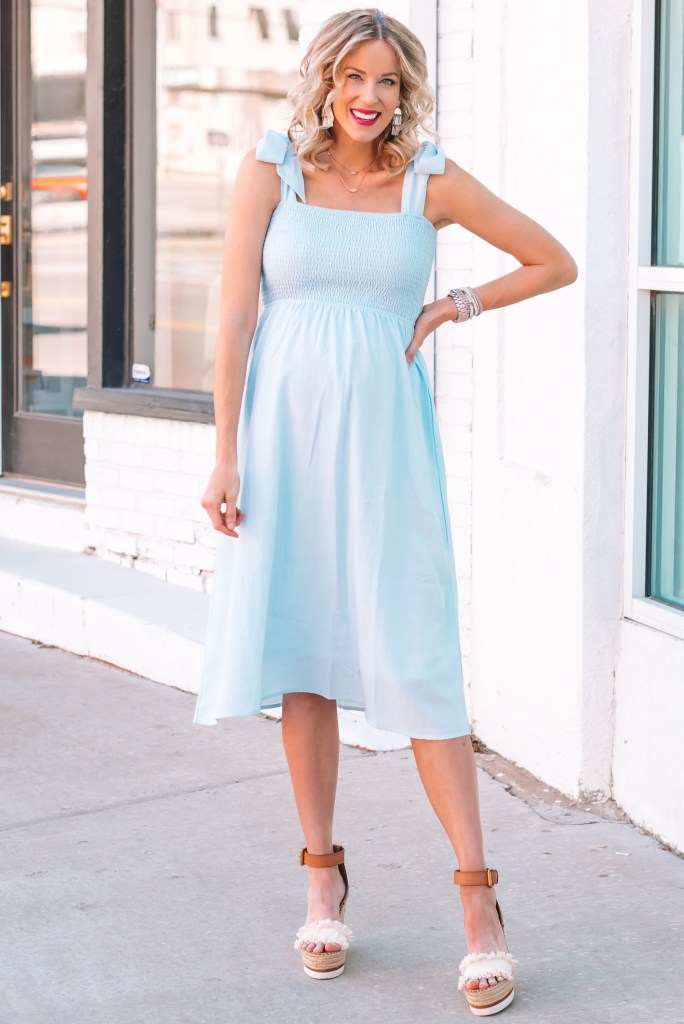 This smocked sleeveless blue maternity dress is perfect for the summer especially if you might be having a little boy!