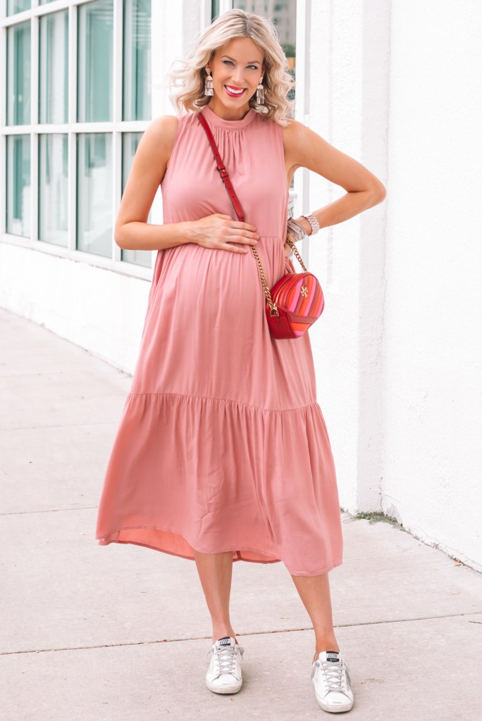 How cute is this pink maxi dress?! I love the tiered layers. The back also has the cutest bow at the top to tie.