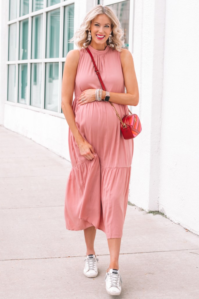 I love this non-maternity pink maxi dress! It's super versatile and easy to dress up and down.