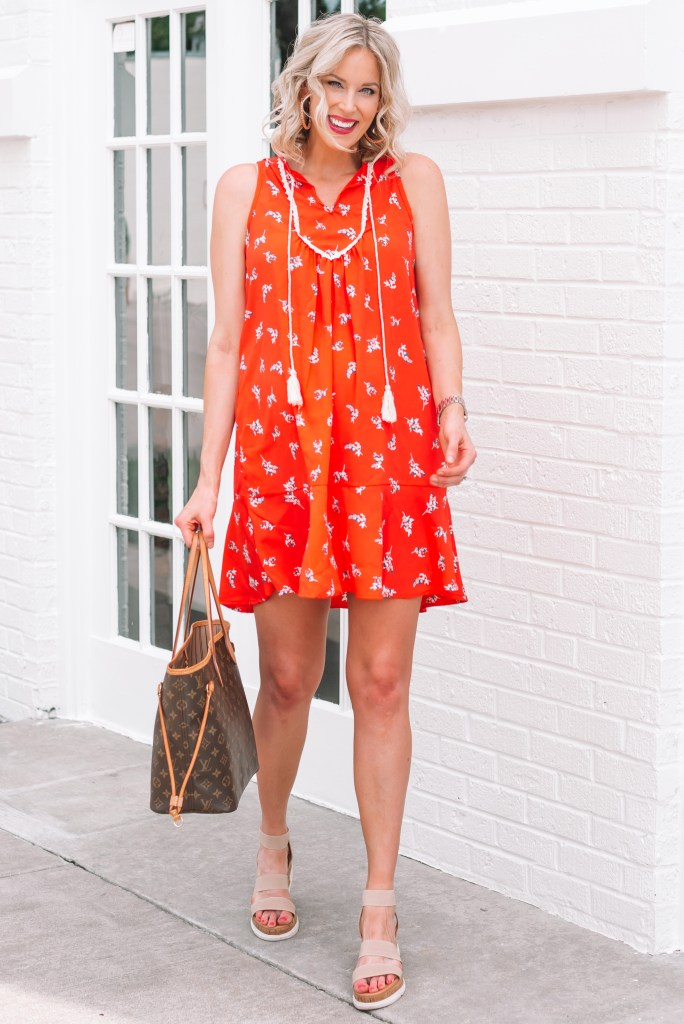 I love this super comfy red dress! It's a shift style with a fun ruffle hem ideal for hot summers.