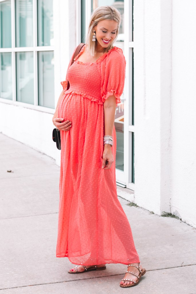 I love the color and fit of this swiss dot smocked maxi dress!