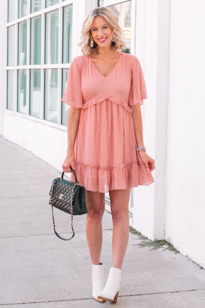 Pair your favorite ankle booties with your favorite short dress to transition it for fall!