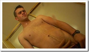 boys pissing - Sexy Bryce Corbin is back soaking and stroking (2)
