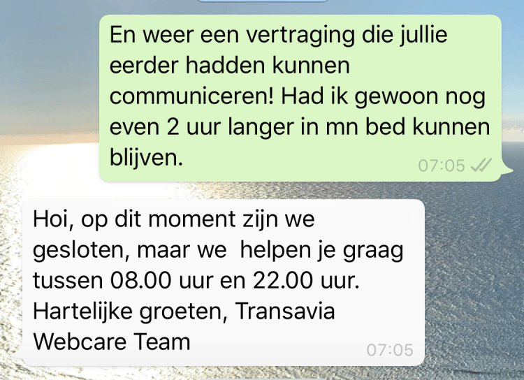 WhatsApp chat Transavia 4 - straightfrom.nl