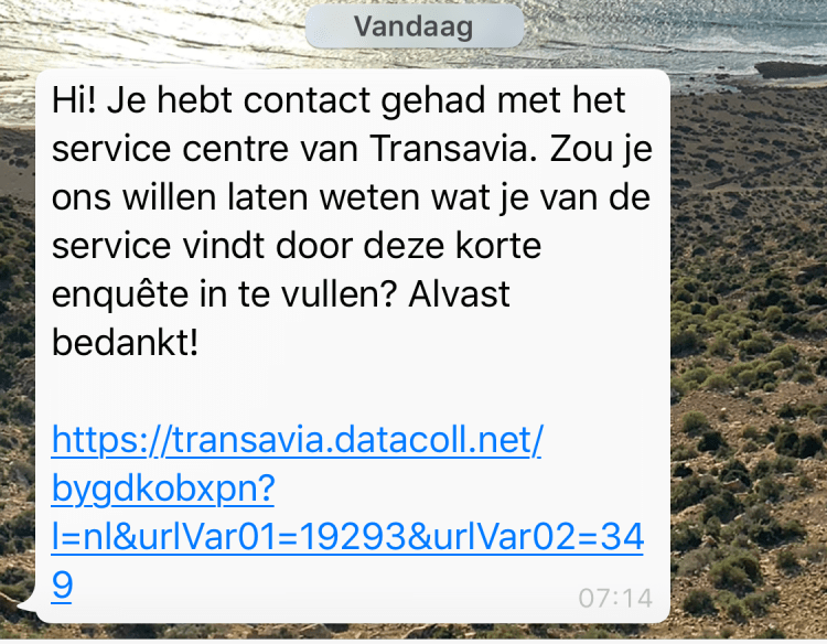 Whatsapp chat Transavia 5 - straightfrom.nl