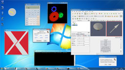Windows 7 desktop, Xming in -multiwindow mode.