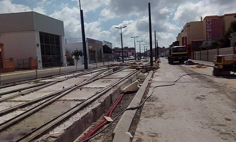 Chiclana Straßenbahn Stau