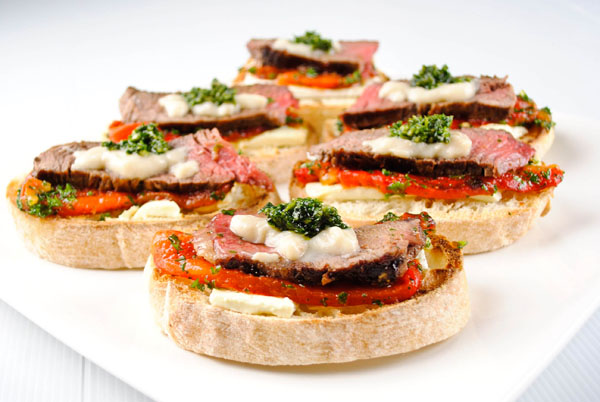 Beef, Feta and Roasted Pepper Open Sandwiches