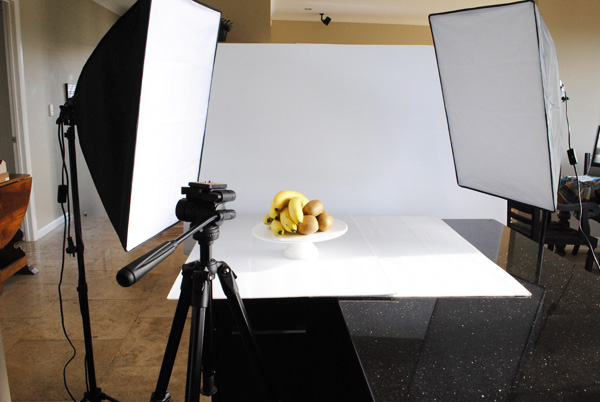 Photography & lighting set up on white core board