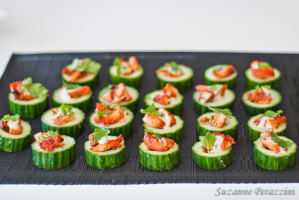 Cucumber and chicken finger food