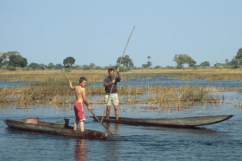 Dario(son) & Adriano(husband) in Mokoro in Okavango Delta
